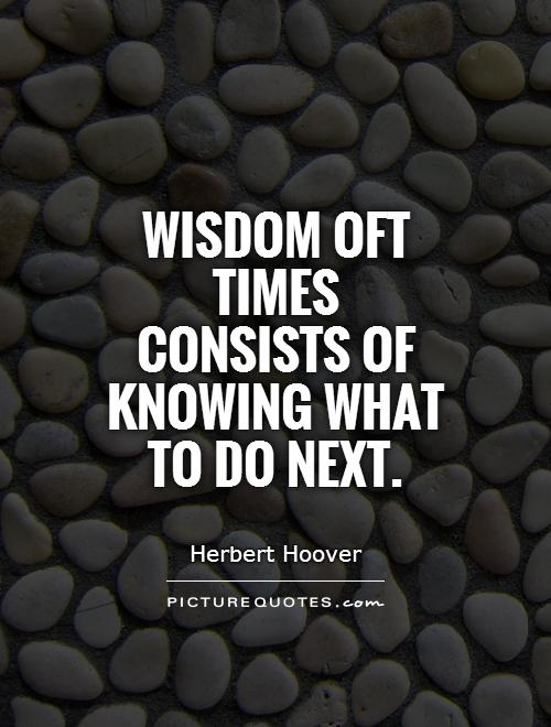 Wisdom oft times consists of knowing what to do next Picture Quote #1