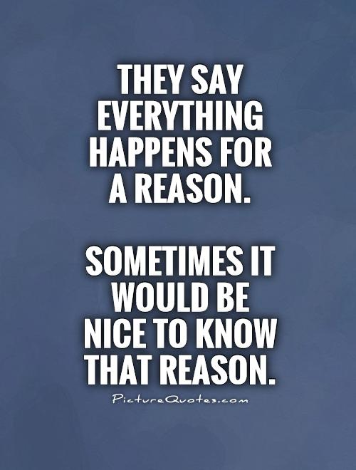 They say everything  happens for  a reason.   Sometimes it  would be  nice to know  that reason Picture Quote #1