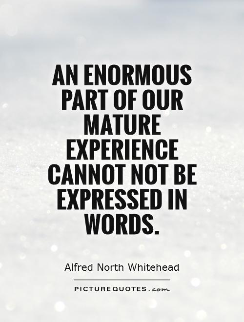 An enormous part of our mature experience cannot not be expressed in words Picture Quote #1
