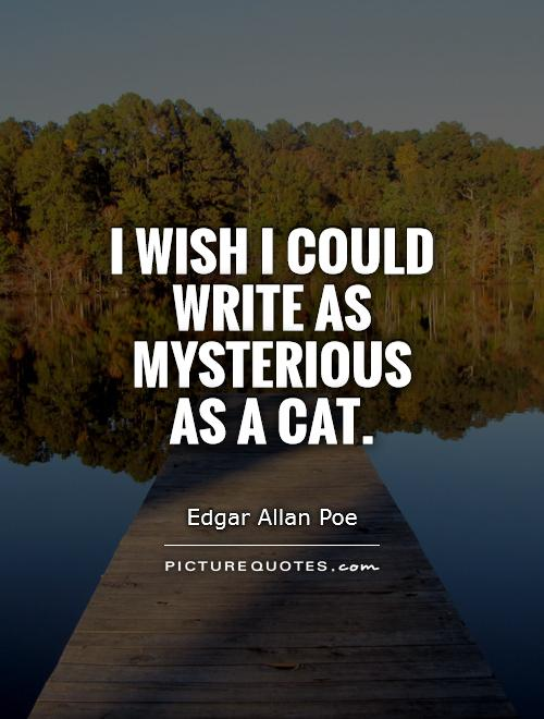 I wish I could write as mysterious as a cat Picture Quote #1
