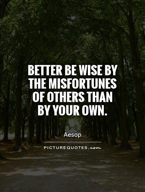 Better be wise by the misfortunes of others than by your own Picture Quote #1