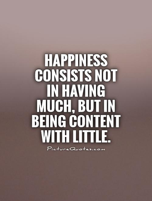 Happiness consists not in having much, but in being content with little Picture Quote #1