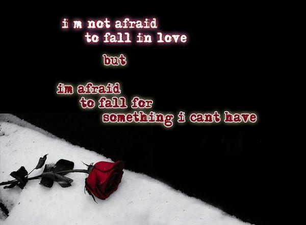 I'm not afraid to fall in love but I'm afraid to fall for something I can't have Picture Quote #1