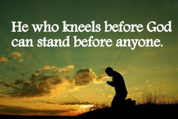 He who kneels before God can stand before anyone Picture Quote #1