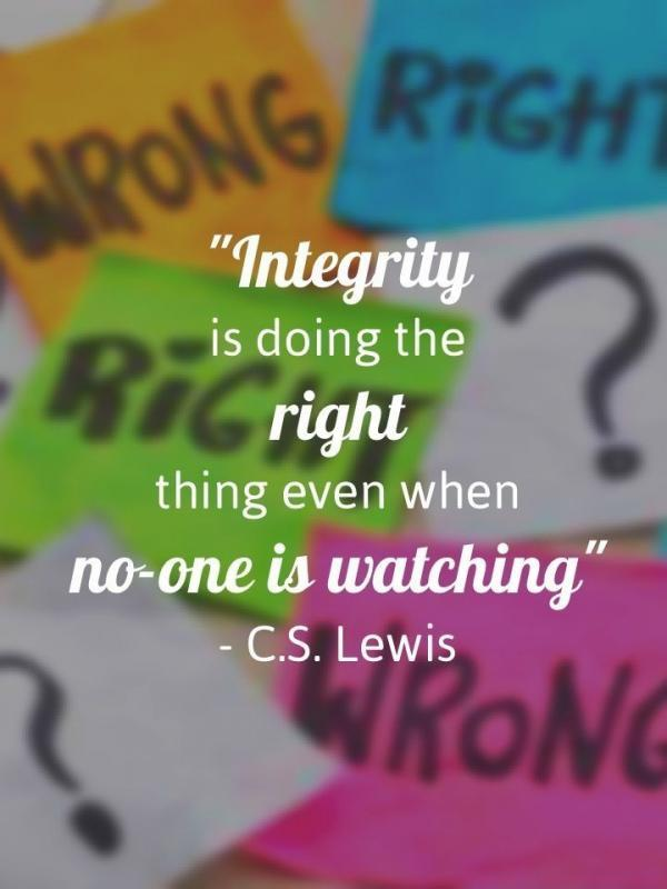 Integrity is doing the right thing even when no one is watching Picture Quote #2