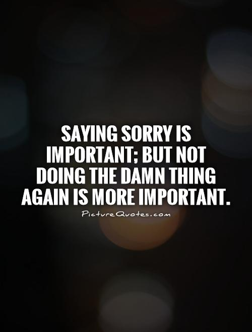 Saying sorry is important; but not  doing the damn thing again is more important Picture Quote #1