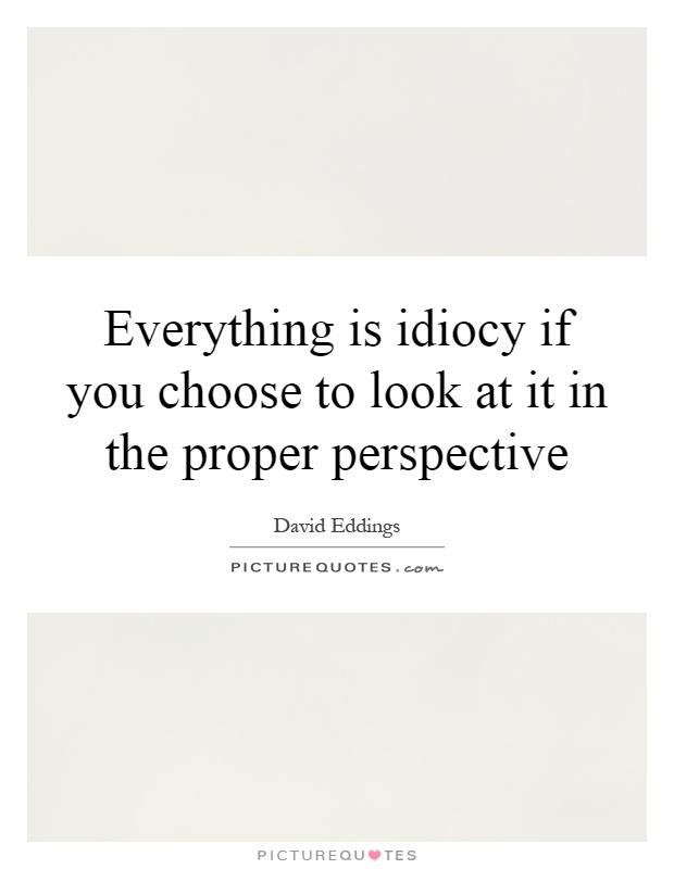 Everything is idiocy if you choose to look at it in the proper perspective Picture Quote #1
