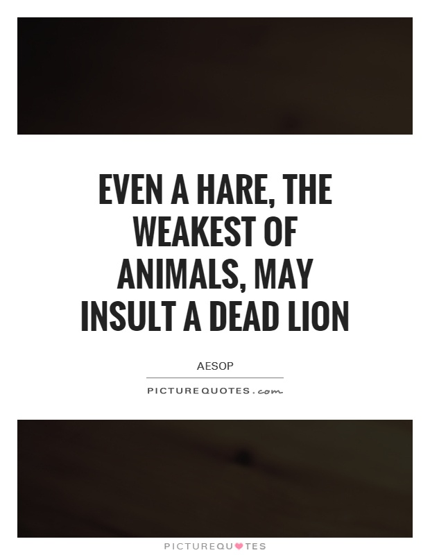 Even a hare, the weakest of animals, may insult a dead lion Picture Quote #1