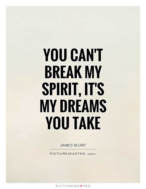 You can't break my spirit, it's my dreams you take Picture Quote #1