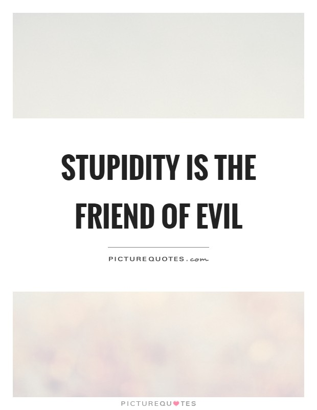 Stupidity is the friend of evil Picture Quote #1
