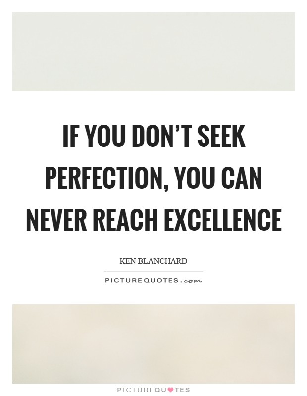 If you don't seek perfection, you can never reach excellence Picture Quote #1