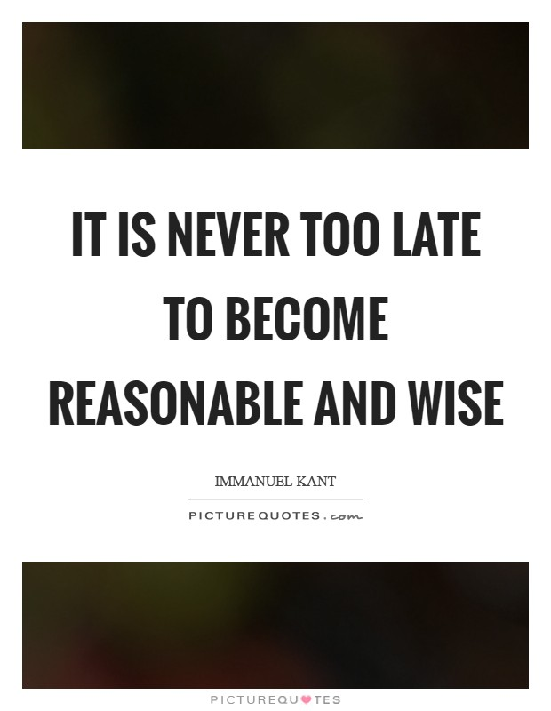 It is never too late to become reasonable and wise Picture Quote #1