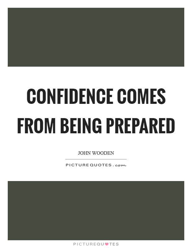 Confidence comes from being prepared Picture Quote #1