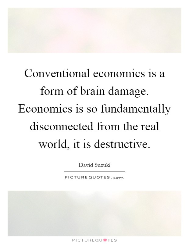 Conventional economics is a form of brain damage. Economics is so fundamentally disconnected from the real world, it is destructive Picture Quote #1