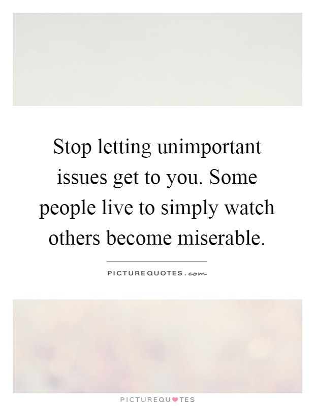 Stop letting unimportant issues get to you. Some people live to simply watch others become miserable Picture Quote #1