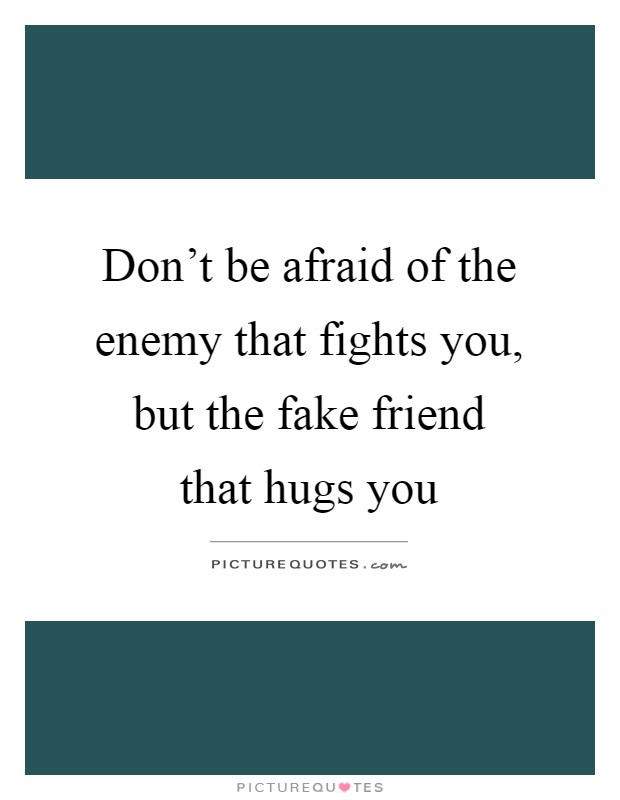 Don't be afraid of the enemy that fights you, but the fake friend that hugs you Picture Quote #1