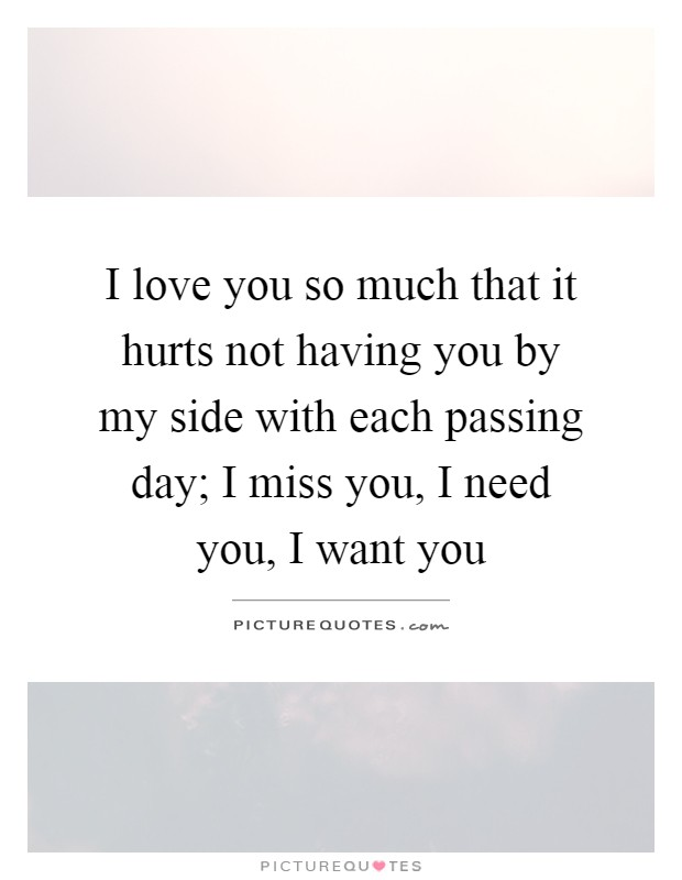 I love you so much that it hurts not having you by my side with each passing day; I miss you, I need you, I want you Picture Quote #1