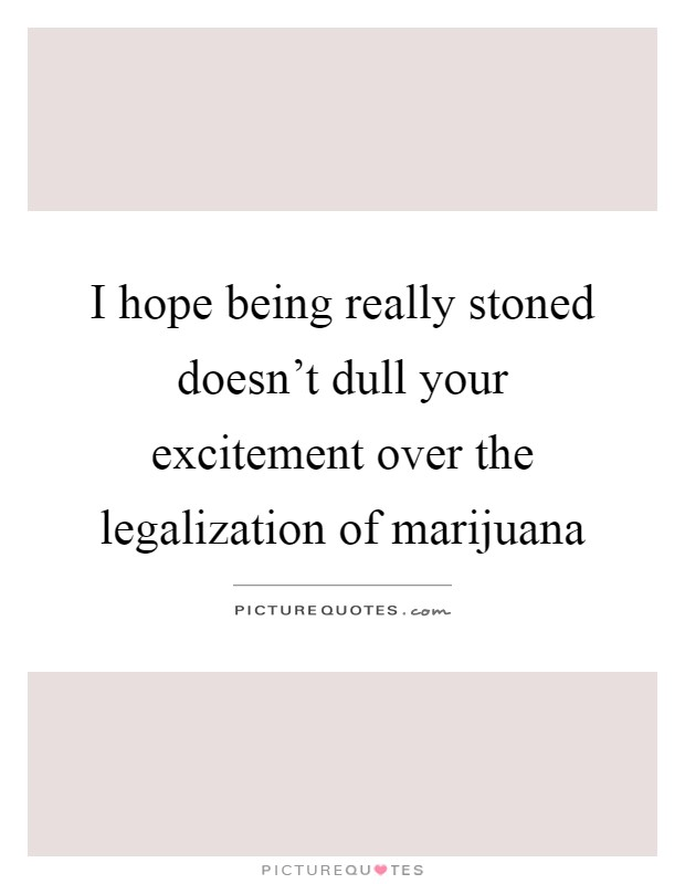 I hope being really stoned doesn't dull your excitement over the legalization of marijuana Picture Quote #1