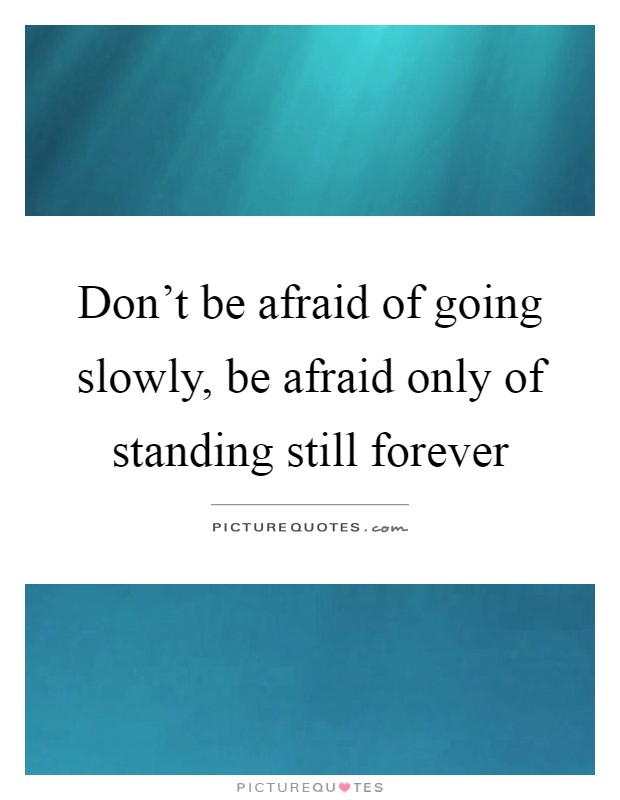 Don't be afraid of going slowly, be afraid only of standing still forever Picture Quote #1