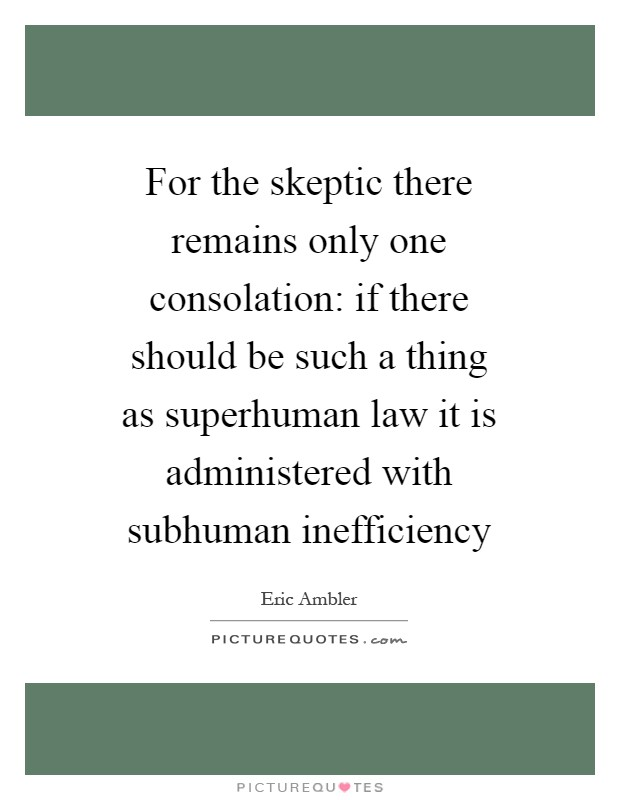 For the skeptic there remains only one consolation: if there should be such a thing as superhuman law it is administered with subhuman inefficiency Picture Quote #1