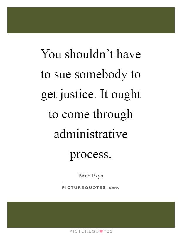 You shouldn't have to sue somebody to get justice. It ought to come through administrative process Picture Quote #1