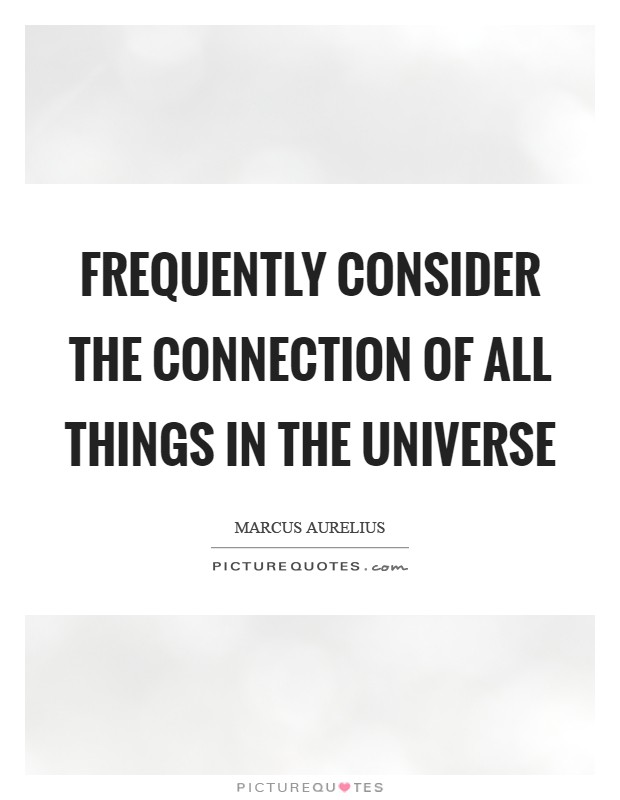 Frequently consider the connection of all things in the universe Picture Quote #1