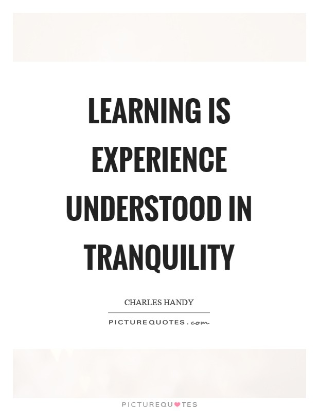 Learning is experience understood in tranquility Picture Quote #1