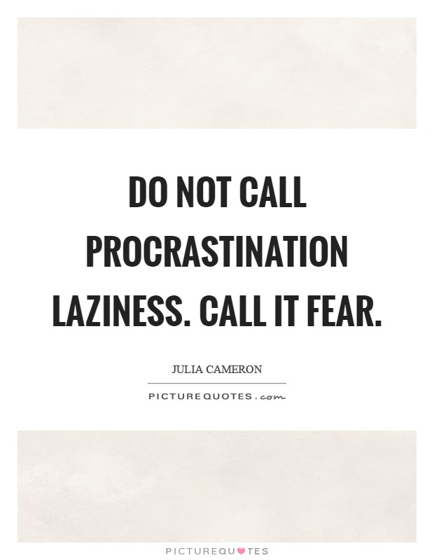 Do not call procrastination laziness. Call it fear Picture Quote #1
