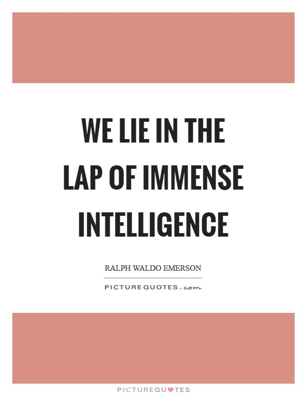 We lie in the lap of immense intelligence Picture Quote #1