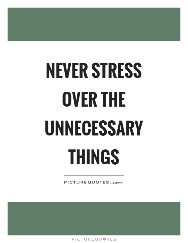 Never stress over the unnecessary things Picture Quote #1