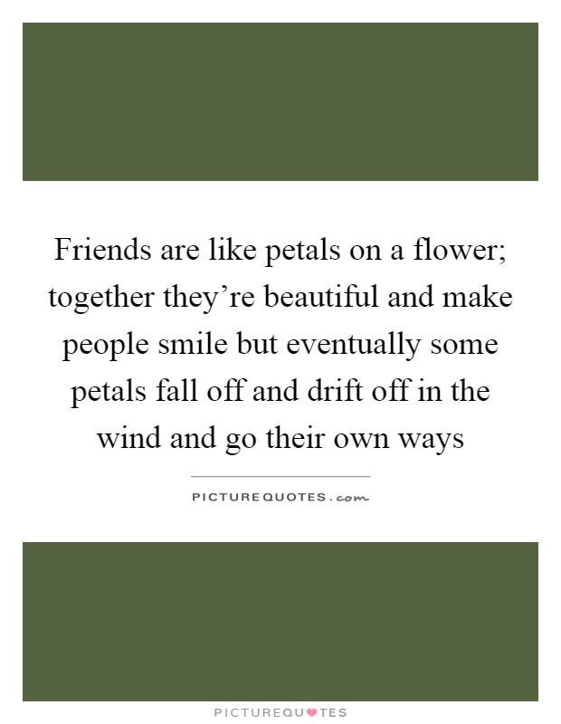 Friends are like petals on a flower; together they're beautiful and make people smile but eventually some petals fall off and drift off in the wind and go their own ways Picture Quote #1