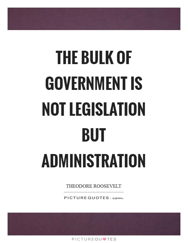 The bulk of government is not legislation but administration Picture Quote #1