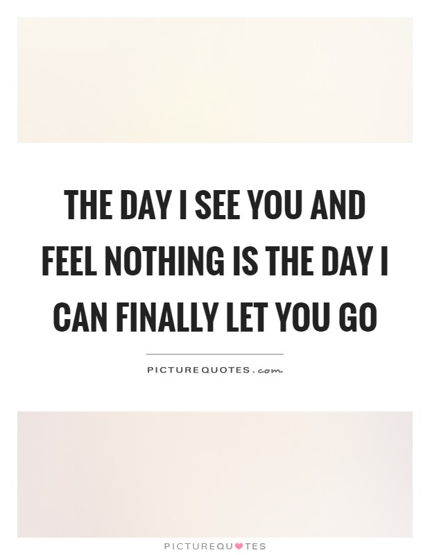 The day I see you and feel nothing is the day I can finally let you go Picture Quote #1