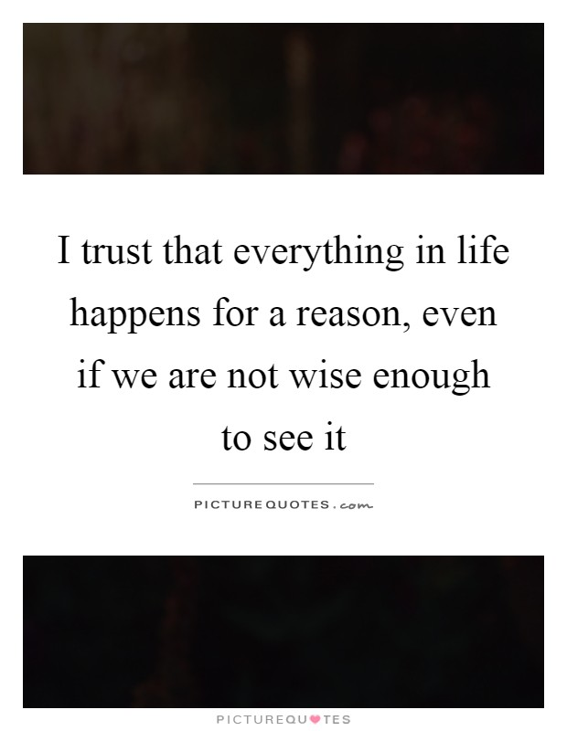 I trust that everything in life happens for a reason, even if we are not wise enough to see it Picture Quote #1