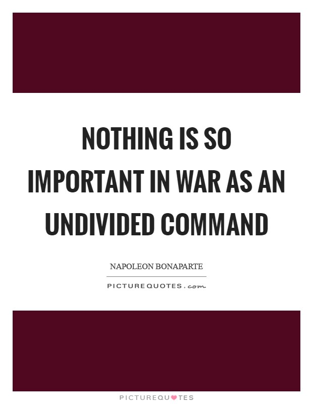 Nothing is so important in war as an undivided command Picture Quote #1