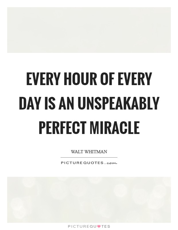 Every hour of every day is an unspeakably perfect miracle Picture Quote #1