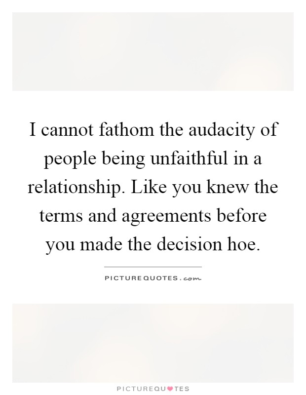 I cannot fathom the audacity of people being unfaithful in a relationship. Like you knew the terms and agreements before you made the decision hoe Picture Quote #1