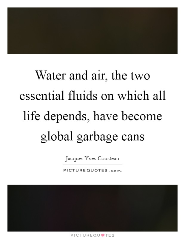 Water and air, the two essential fluids on which all life depends, have become global garbage cans Picture Quote #1