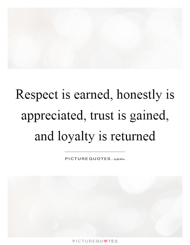 Respect is earned, honestly is appreciated, trust is gained, and loyalty is returned Picture Quote #1