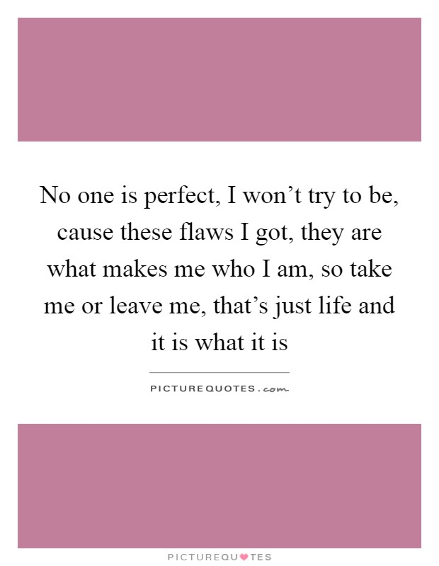 No one is perfect, I won't try to be, cause these flaws I got, they are what makes me who I am, so take me or leave me, that's just life and it is what it is Picture Quote #1