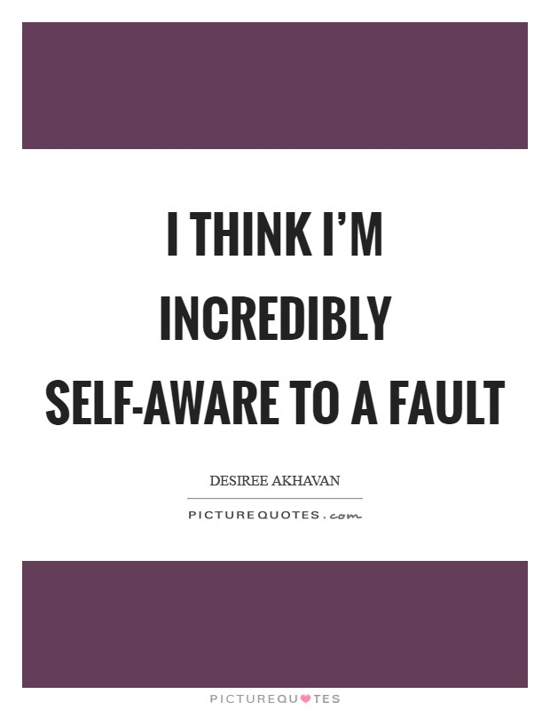 I think I'm incredibly self-aware to a fault Picture Quote #1