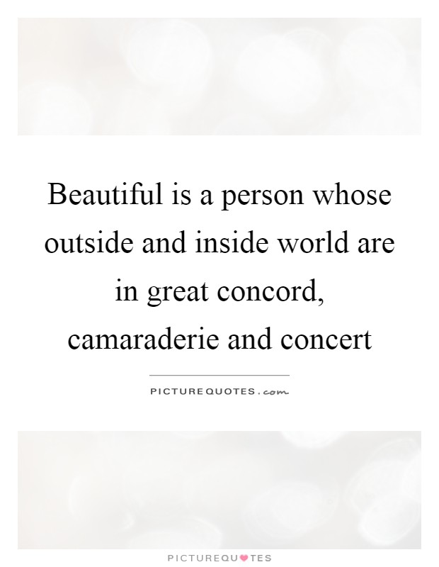 Beautiful is a person whose outside and inside world are in great concord, camaraderie and concert Picture Quote #1