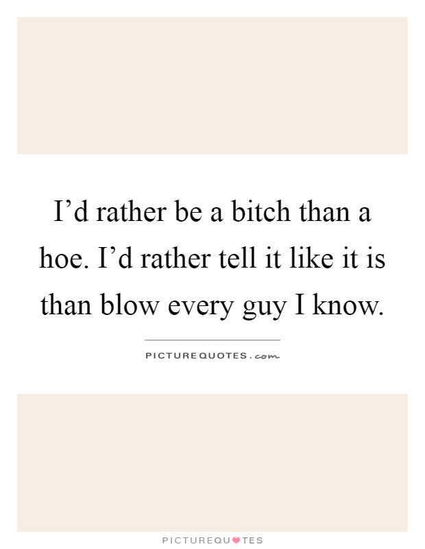 I'd rather be a bitch than a hoe. I'd rather tell it like it is than blow every guy I know Picture Quote #1