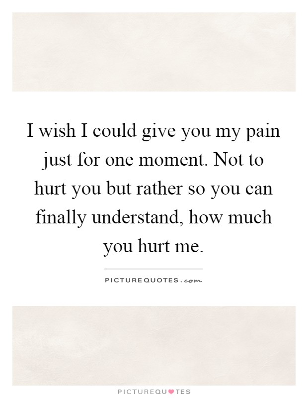 I wish I could give you my pain just for one moment. Not to hurt you but rather so you can finally understand, how much you hurt me Picture Quote #1