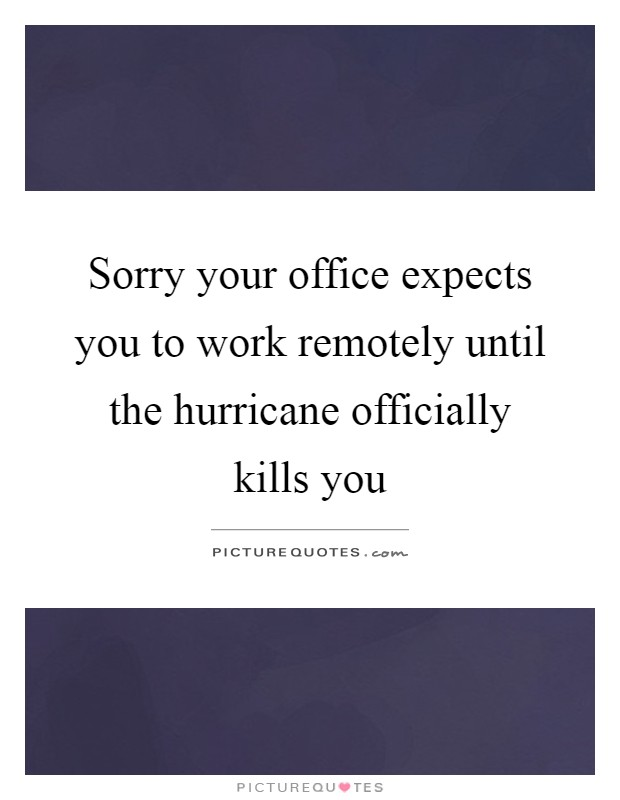 Sorry your office expects you to work remotely until the hurricane officially kills you Picture Quote #1