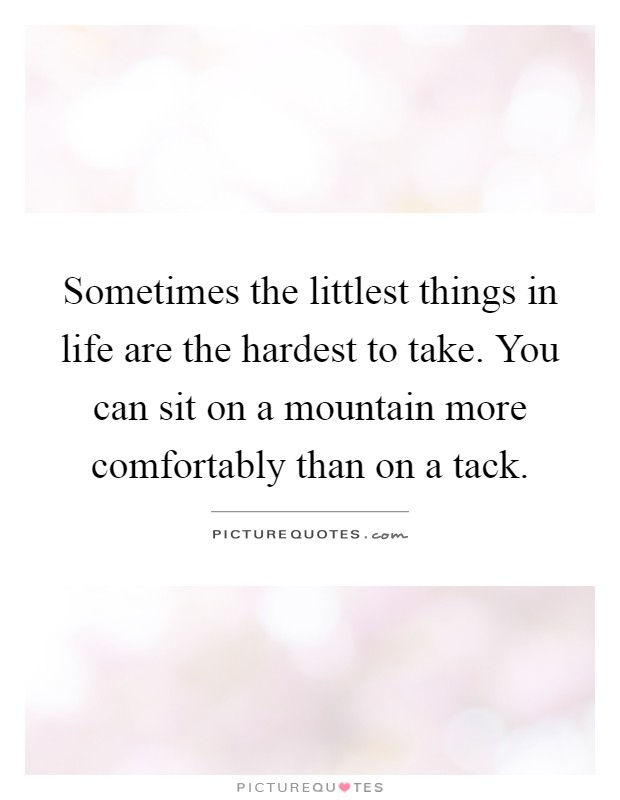 Sometimes the littlest things in life are the hardest to take. You can sit on a mountain more comfortably than on a tack Picture Quote #1