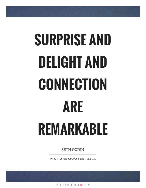 Surprise and delight and connection are remarkable Picture Quote #1