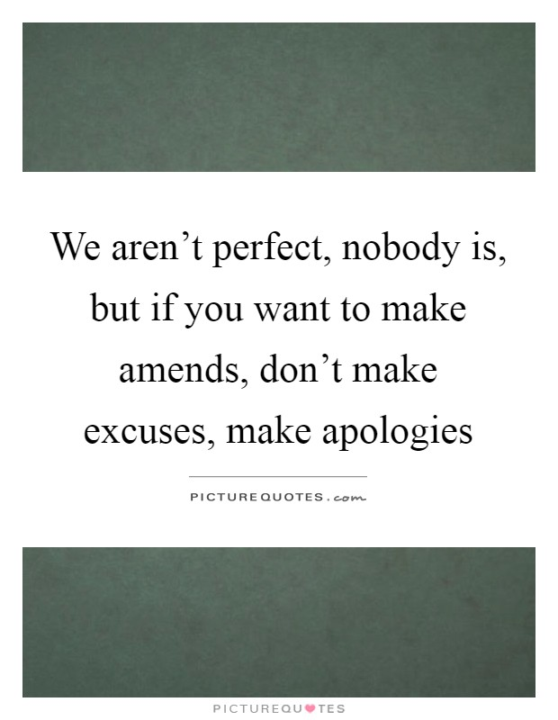 We aren't perfect, nobody is, but if you want to make amends, don't make excuses, make apologies Picture Quote #1