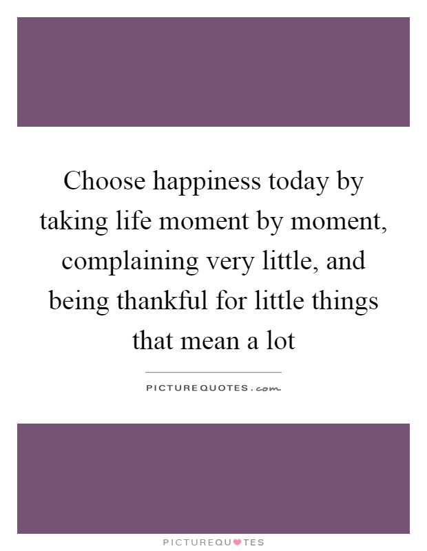 Choose happiness today by taking life moment by moment, complaining very little, and being thankful for little things that mean a lot Picture Quote #1