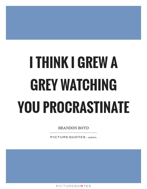 I think I grew a grey watching you procrastinate Picture Quote #1